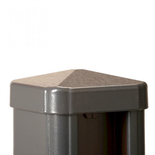 Anthracite grey woodgrain effect pvc fence post cap