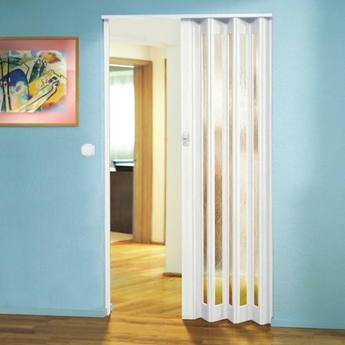The Eurostar Concertina Folding Door - White - Glass