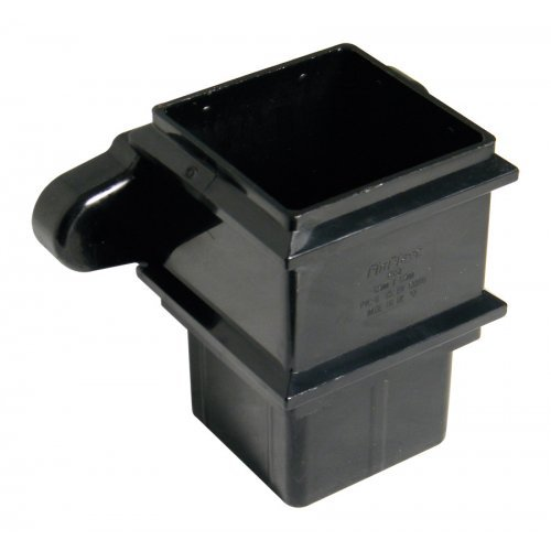 65mm Black Square Classic Downpipe Socket - With Lugs