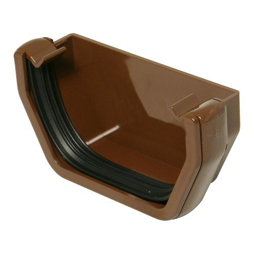 Floplast 114mm Brown Square Gutter  External Stop End (RES1V)