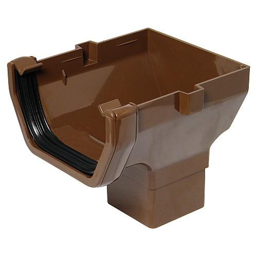 Floplast 114mm Brown Square Gutter Stop End Outlet (ROS2V)