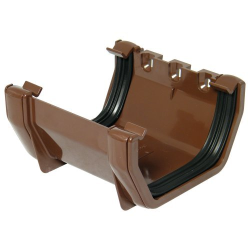 Floplast 114mm Brown Square Gutter Union Joint (RUS1V)