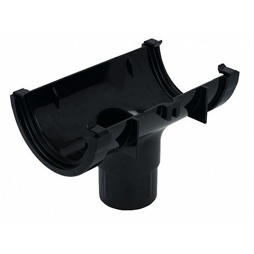 112mm Black Half Round Gutter - In Line Running Outlet