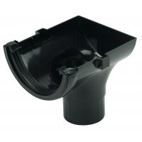 Floplast 112mm Black Half Round Gutter Stop End Outlet  (RO2B)