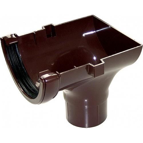 Floplast 112mm Brown Half Round Gutter Stop-End Outlet (RO2V)