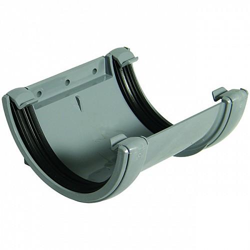 Floplast 112mm Grey Half Round Gutter Union Joint (RU1G)