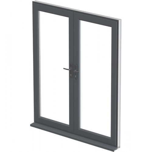 Upvc 7016 grey french doors 39 a 39 rated made to measure for Upvc french doors grey
