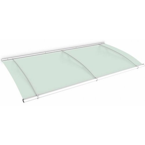 White 1.9m Lightline Frosted Green Over Door Canopy