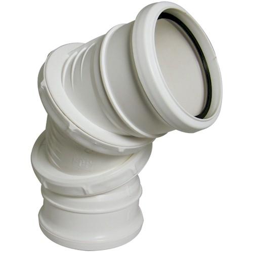 Floplast (SP560W) White Soil Pipe Adjustable Bend 0-90º