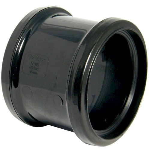 Floplast (SP105B) Black Soil Pipe Double Socket Pipe Coupling