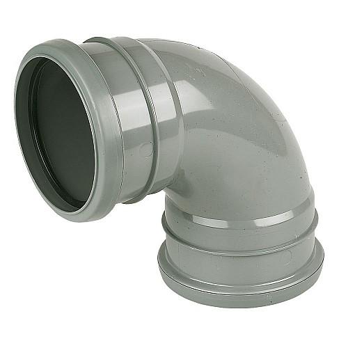 Floplast (SP561G) Soil Pipe 90º Bend Double Socket Grey