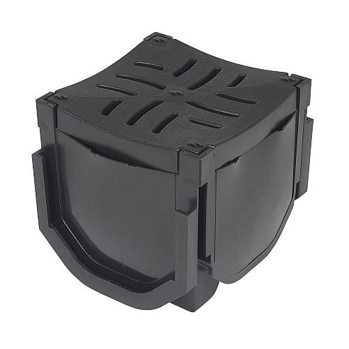 FloPlast FloDrain Corner Unit Black 110mm x 110mm