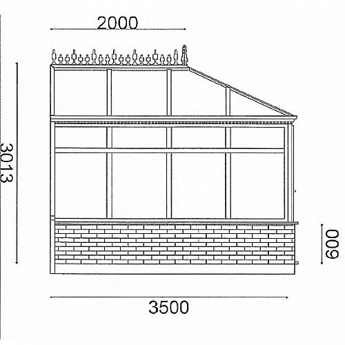 Edwardian 3m x 3.5m Conservatory On Dwarf Walls