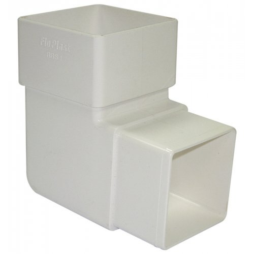 Floplast 65mm White Square 90º Downpipe Bend (RBS1W)