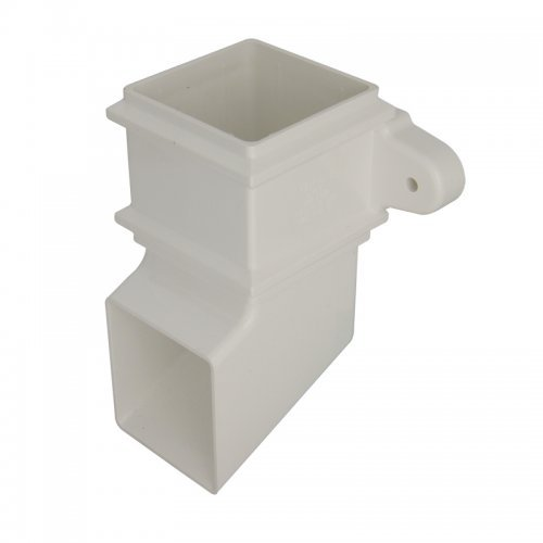 Floplast 65mm White Square Classic Downpipe Shoe - with Lugs (RBS4W)