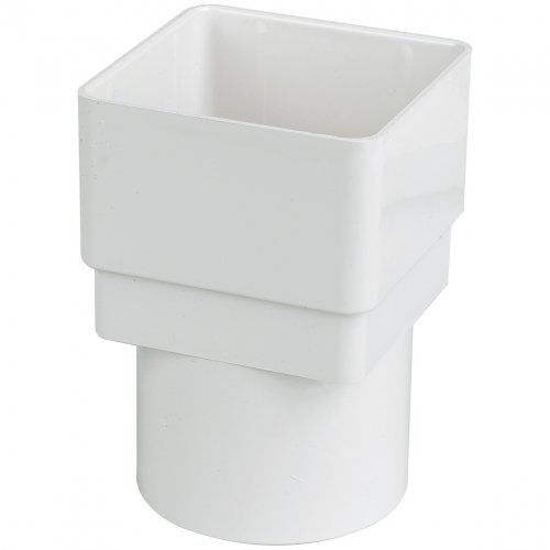 Floplast 65mm White Square to 68mm round Downpipe Converter (RDS2W)