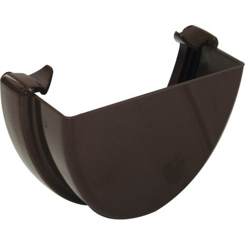 Floplast Brown 115mm Deep Flow Gutter External  Stop End