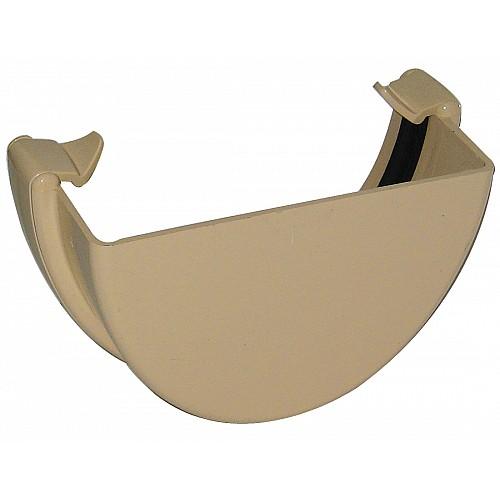 Floplast Cream (Sand) 115mm Deep Flow  Gutter External Stop End
