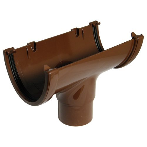 Floplast Brown 115mm Deep Flow  Gutter Running Outlet