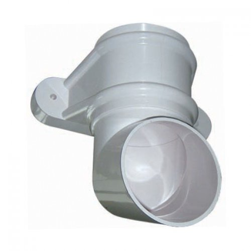 68mm White Round Classic Downpipe Shoe - With Lugs (RB4W)