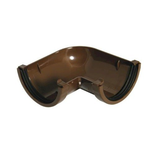 90º Angle - Floplast 76mm Miniflo Gutter - Brown