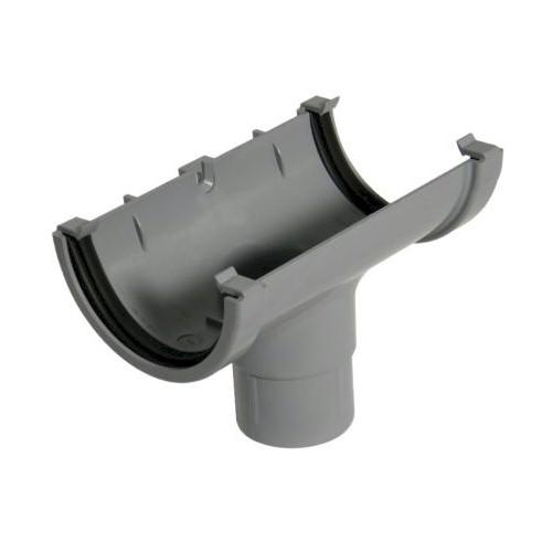Running Outlet - Floplast 76mm Miniflo Gutter - Grey
