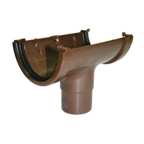Running Outlet - Floplast 76mm Miniflo Gutter - Brown