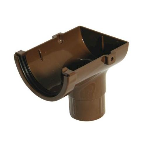 Stopend Outlet - Floplast 76mm Miniflo Gutter - Brown