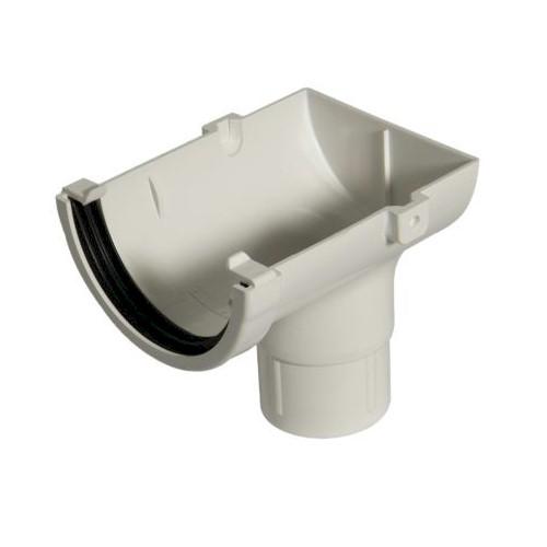 Stopend Outlet - Floplast 76mm Miniflo Gutter - White