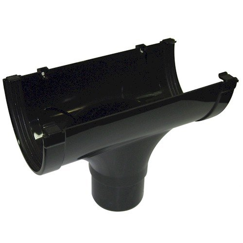 Floplast Xtraflo 170mm Gutter Running Outlet - Black