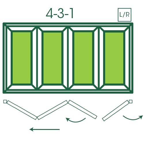 UPVC Double Glazed Made to measure Bi-fold 4 Pane Folding Door with 1 Fixed Door
