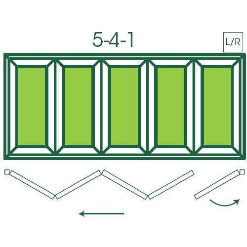 UPVC Double Glazed Made to measure Bi-fold 5 Pane Folding Door with 1 Fixed Door