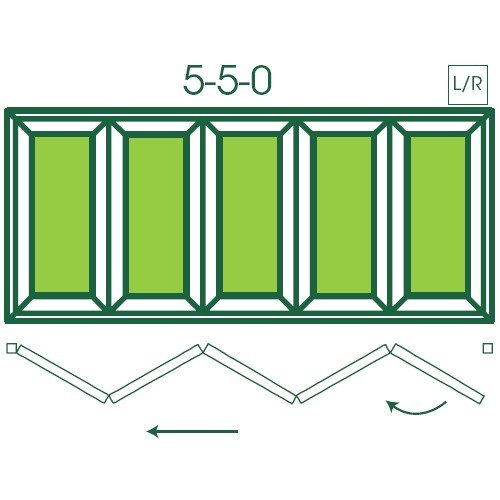 UPVC Double Glazed Made to measure Bi-fold 5 Pane Folding Door