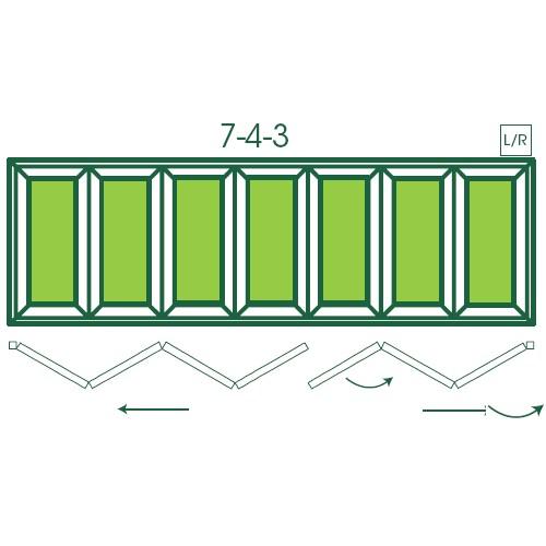 UPVC Double Glazed Made to measure Bi-fold 7 Pane Folding Door with a  4 - 3 Pane split.