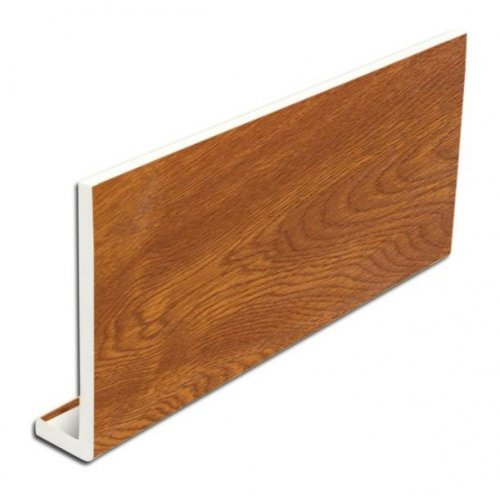 9mm 400mm x 5m uPVC Fascia Cover Board - Light Oak