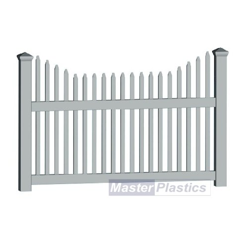 1.8m Plastic Traditional uPVC White Trapezium White Picket Fence Rail Panels