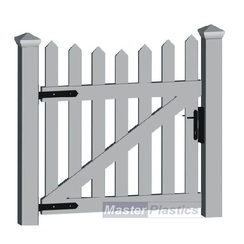 Plastic UPVC Vinyl Single Gates ...Traditional TYPE 2 Trapezium White Picket