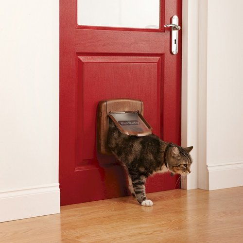 Cat kennel with magnetic flap brown way magnetic lockable safe flap door fr s size lb cat dog - Safe pet dog doors ...