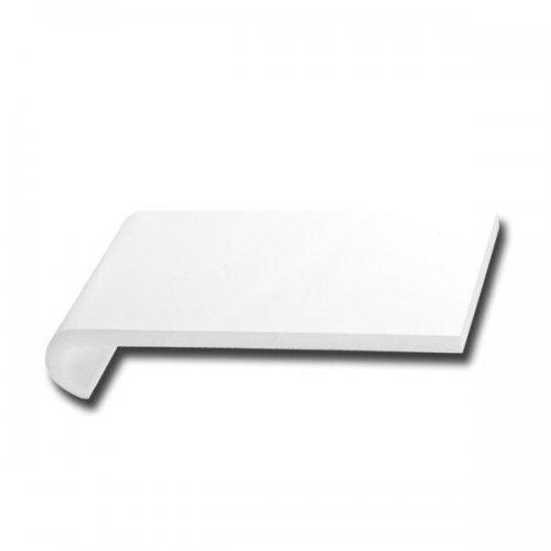 White 180mm x 1.25m Hockey Bull Nosed Internal Cill - with caps